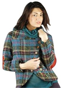 Desigual Plaid Elbow Patch Asymmetrical Embroidered Johnny Was Motorcycle Jacket