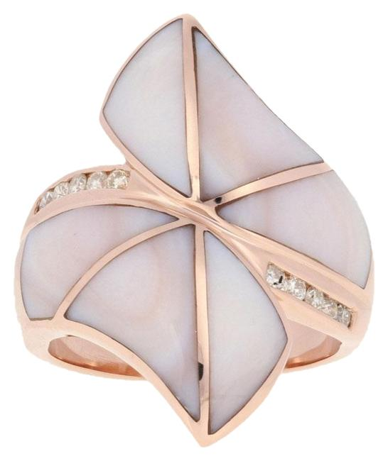 Item - Rose Inlaid Pink Mother Of Pearl & Diamond - 14k Gold 9 3/4 E6324 Ring