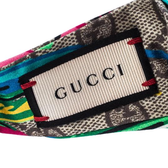 Gucci Multicolor Monogram and Floral Print Silk Twisted Headband Image 4