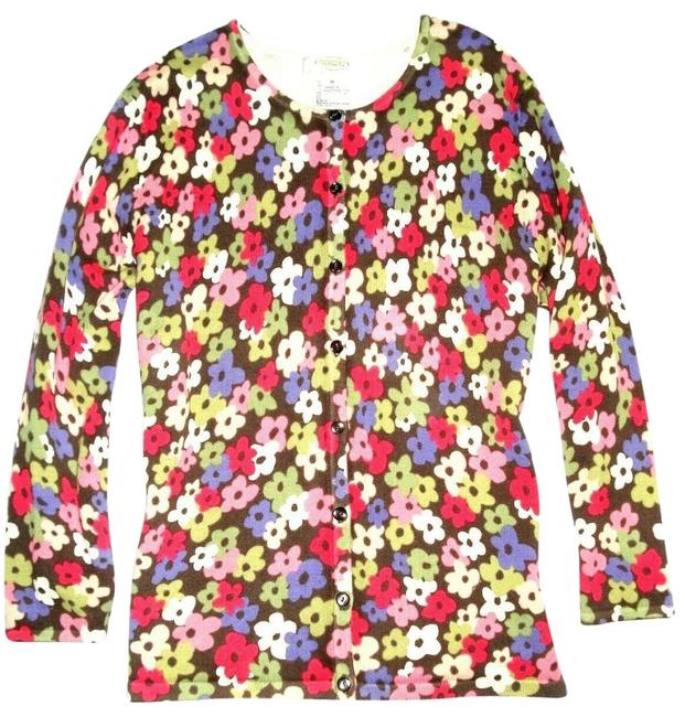 Item - Pink Green Blue Multicolor Floral 3/4 Sleeve Cardigan Size Petite 10 (M)