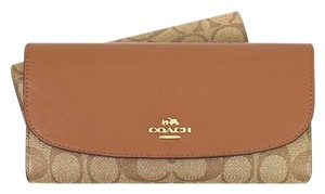 Coach Coach Signature Checkbook F57319 Wallet Brown