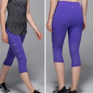 Lululemon Lululemon Purple Breezy Mesh Panel Reflective Crop Leggings
