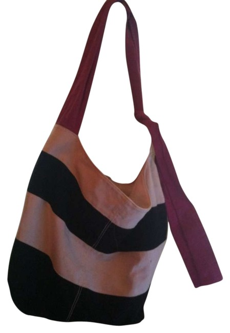 Item - Black and White Striped Pink Strap Canvas Tote