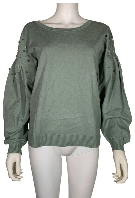 Item - L Embellished Balloon Sleeves Green Sweater
