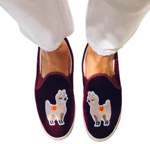Soludos Casual Velvet Embroidered Funky Llama Maroon Flats