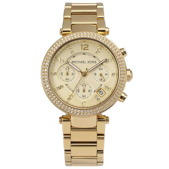 Preload https://img-static.tradesy.com/item/26282273/michael-kors-gold-parker-stainless-steel-pave-crystal-chronograph-mk5354-watch-0-0-540-540.jpg