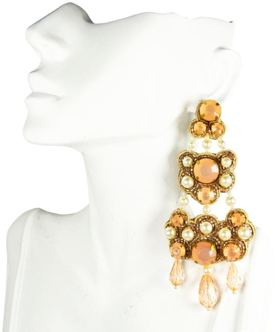 Item - Multi-color Clear White & Pale Pink Beaded Chandelier Earrings