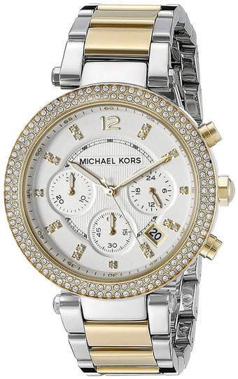 Preload https://img-static.tradesy.com/item/26282327/michael-kors-gold-silver-parker-two-tone-stainless-steel-crystal-glitz-chronograph-mk5626-watch-0-0-540-540.jpg