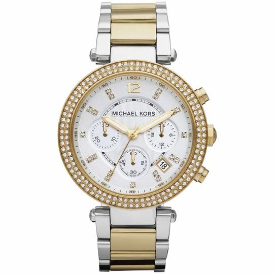 Michael Kors Parker Two Tone Stainless Steel Crystal Glitz Chronograph MK5626 Watch Image 8