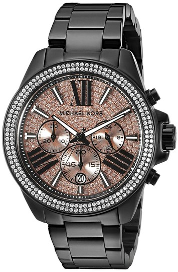Michael Kors Wren Stainless Steel Champagne Pave Crystal Chronograph MK5879 Watch Image 6