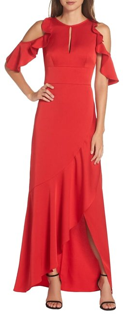 Item - Red Ml Crepe Dance Ruffle Front Opening Long Formal Dress Size 4 (S)