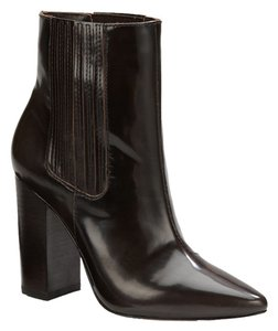 Pour La Victoire Patent Leather High Heel Pointed Toe Chocolate Brown Boots