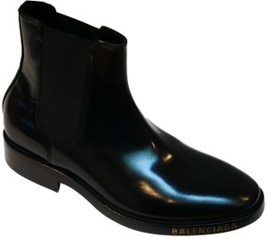 Balenciaga Italian Patent Leather Monogram Black Boots