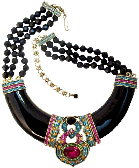 Item - Black Signature Accent Multi-color Crystal Statement Necklace