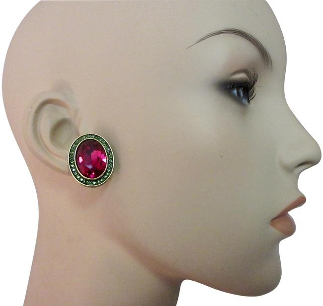 Item - Deep Pink Green Signature Accent Multi-color Crystal Statement Clip Earrings