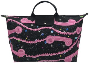 Longchamp Paris Limited Limited Edition Collaboration Rare Black and Pink Travel Bag