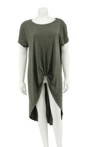 ONE A Green Jersey Knotted Short Sleeve Tunic