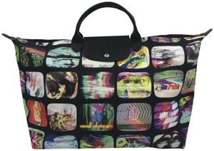Longchamp Paris Limited Limited Edition Rare Collaboration Black and Multicolor Travel Bag