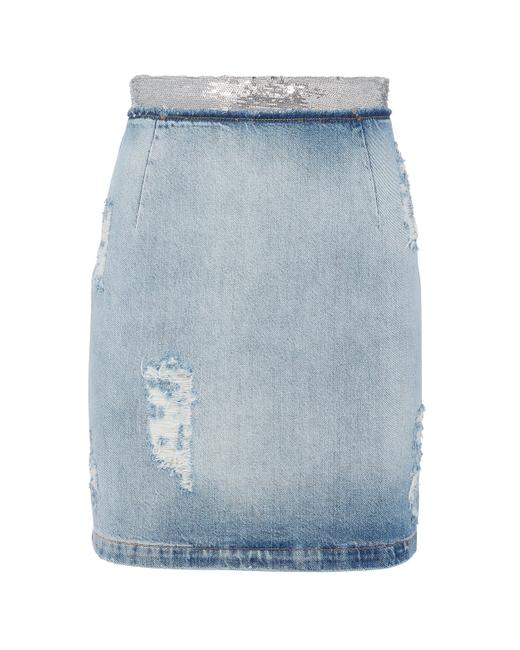 Item - Blue Silver 36 Jeans Distressed Denim with Sequined Wais Skirt Size 6 (S, 28)