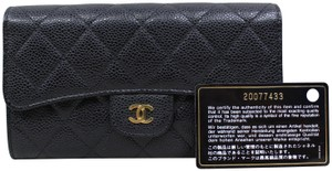chanel Chanel Black Caviar Quilted Trifold Wallet