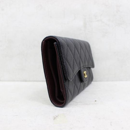 chanel Chanel Black Caviar Quilted Trifold Wallet Image 3