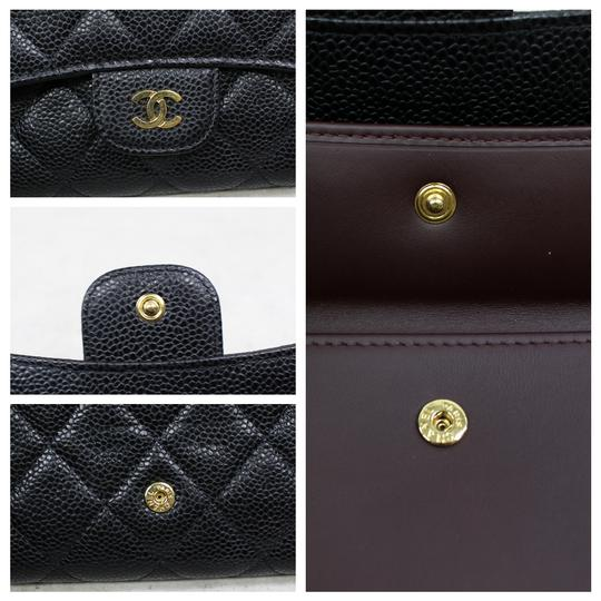 chanel Chanel Black Caviar Quilted Trifold Wallet Image 7