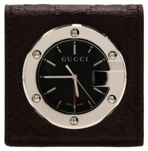 Gucci Black Stainless Steel Brow Leather Unisex Alarm Clock 40MM