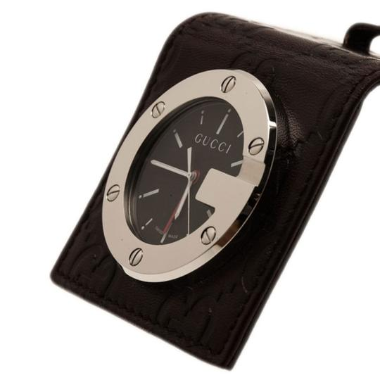Gucci Black Stainless Steel Brow Leather Unisex Alarm Clock 40MM Image 1