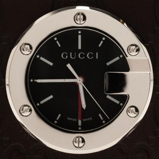 Gucci Black Stainless Steel Brow Leather Unisex Alarm Clock 40MM Image 2