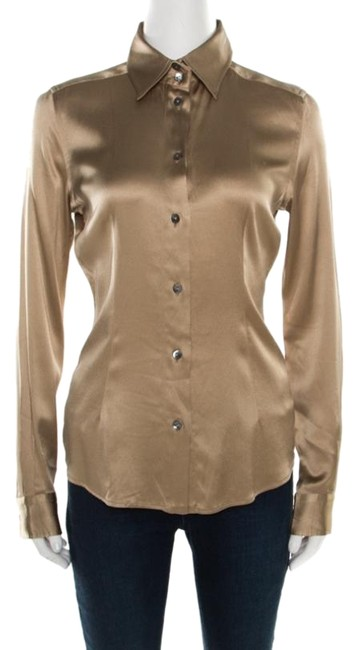 Preload https://img-static.tradesy.com/item/26283428/dolce-and-gabbana-beige-dolce-and-gabbana-silk-satin-long-sleeve-button-front-shirt-s-blouse-size-6-0-1-650-650.jpg