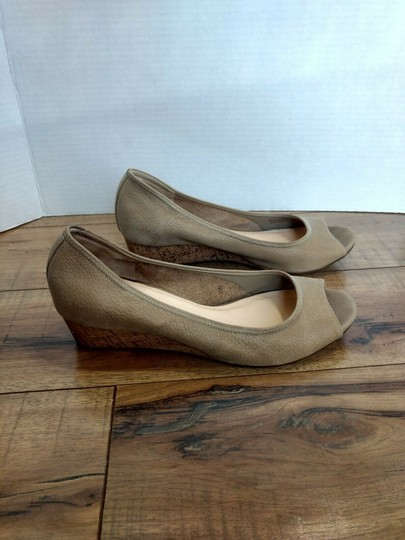Cole Haan Leather Open Toe Nike Air Pebbled Beige Wedges Image 2