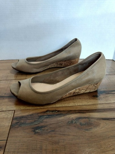 Cole Haan Leather Open Toe Nike Air Pebbled Beige Wedges Image 4