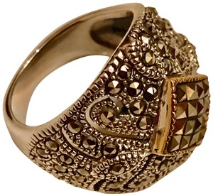 Thailand Marcasite Dome Ring in Sterling Silver/14K Gold