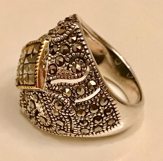 Thailand Marcasite Dome Ring in Sterling Silver/14K Gold Image 2