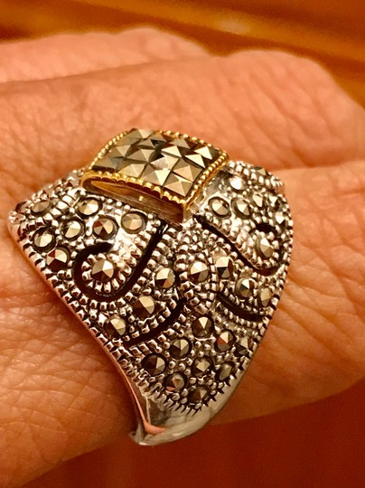 Thailand Marcasite Dome Ring in Sterling Silver/14K Gold Image 4