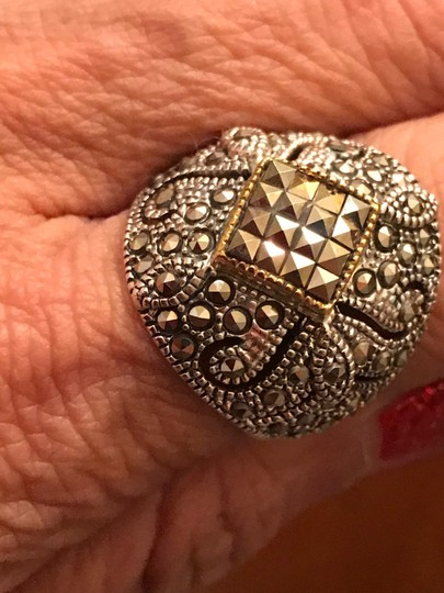 Thailand Marcasite Dome Ring in Sterling Silver/14K Gold Image 5