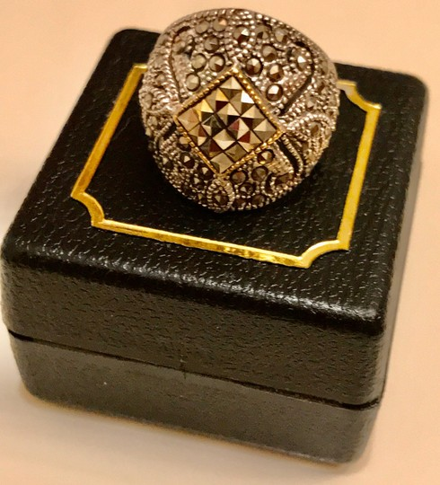 Thailand Marcasite Dome Ring in Sterling Silver/14K Gold Image 6