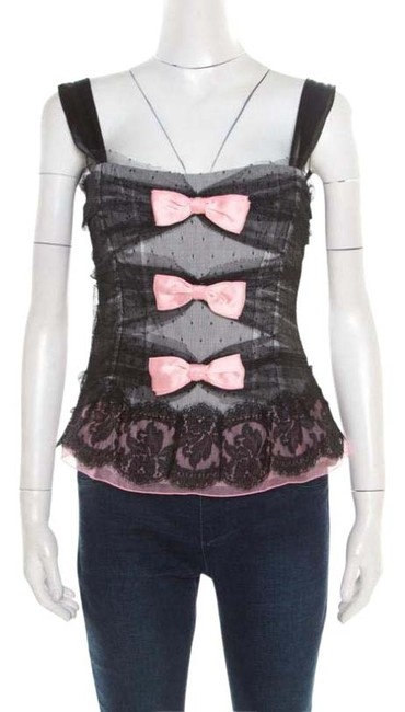 Preload https://img-static.tradesy.com/item/26283510/dolce-and-gabbana-black-dolce-and-gabbana-dotted-tulle-and-lace-bow-detail-corset-m-blouse-size-10-m-0-1-650-650.jpg