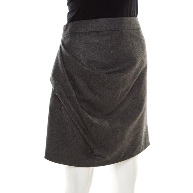 Emporio Armani Draped Knit Skirt Grey Image 2