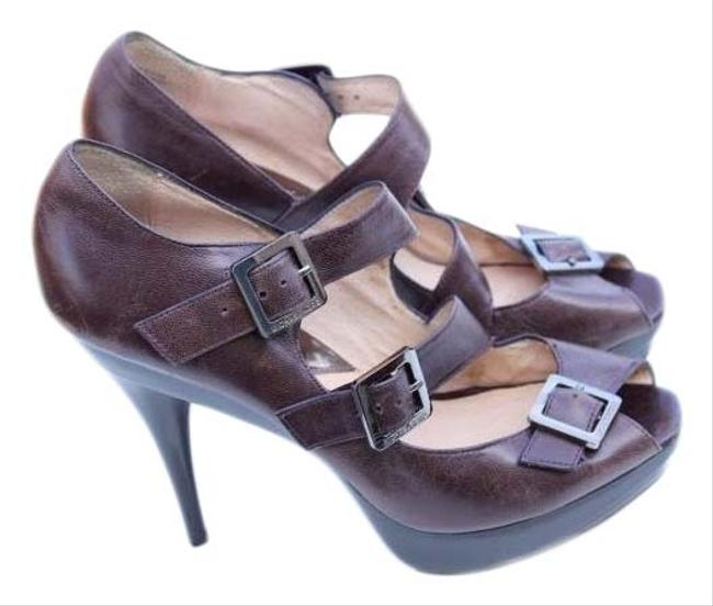 Item - Brown Peep Toe Platforms Size US 10 Regular (M, B)