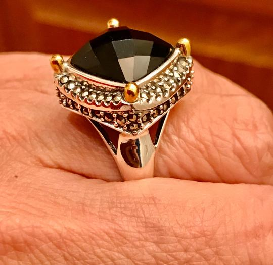 Thailand Faceted Black Agate with Marcasite Gemstones Ring Image 3