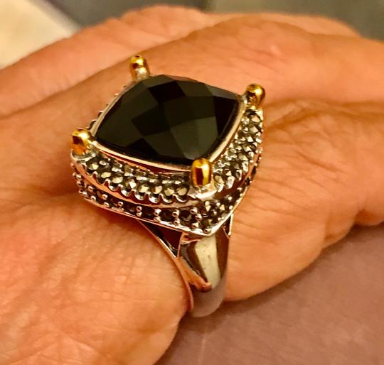 Thailand Faceted Black Agate with Marcasite Gemstones Ring Image 6