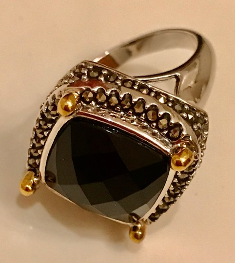 Thailand Faceted Black Agate with Marcasite Gemstones Ring Image 7