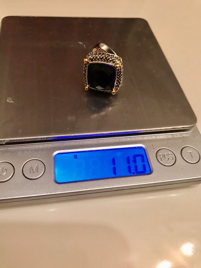 Thailand Faceted Black Agate with Marcasite Gemstones Ring Image 9