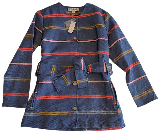 Item - Blue Pink White Dolan Piccadilly Belted New Jean Striped Multicolor Coat Size 4 (S)