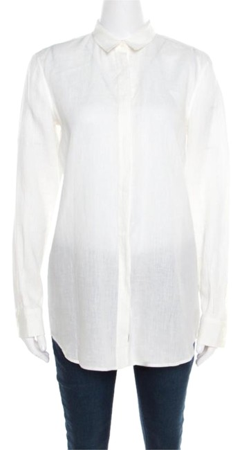 Loro Piana Linen Longsleeve Top Cream Image 0