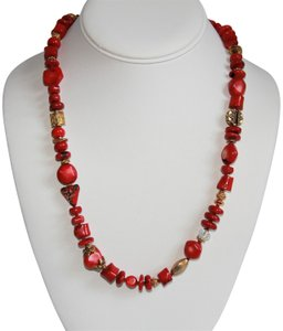 Unbranded Rare Unique Vintage Deep Red Coral Sterling Silver and Gold Necklace