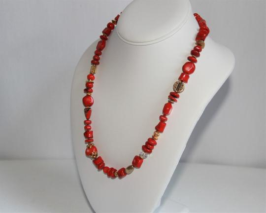 Unbranded Rare Unique Vintage Deep Red Coral Sterling Silver and Gold Necklace Image 1