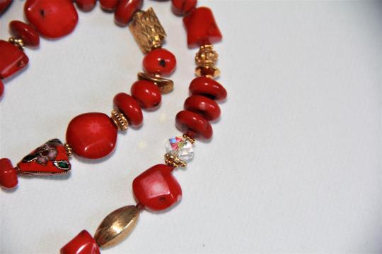 Unbranded Rare Unique Vintage Deep Red Coral Sterling Silver and Gold Necklace Image 10