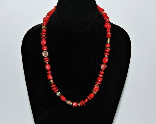 Unbranded Rare Unique Vintage Deep Red Coral Sterling Silver and Gold Necklace Image 2